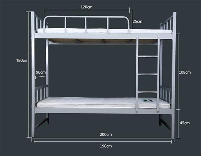 2.产品尺寸: 2.1.长*宽*高:2000mm*900mm*1800mm。 2.2.上铺板下沿高度1530mm; 2.3.上下梯尺寸:500 mm*250mm,防滑; 2.4.护栏高度200mm。 2.5.安全稳固。 3.床架要求: 3.1.主管采用40mm*40mm*1.5mm优质镀锌方管或优质冷轧钢管; 3.2.辅管采用25mm*25mm*1.2mm优质镀锌方管或优质冷轧钢管。 4.
